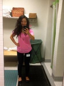 Awkward selfie in work restroom