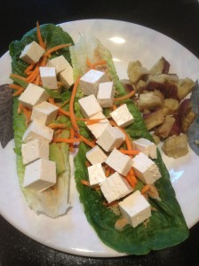 Tofu Lettuce Wraps w/ a side of steamed sweet potatoes