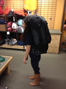 Testing out my backpack at REI