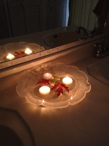How I decorated the bathroom last Thanksgiving. Soft lighting + no poop smell for those guests with fast metabolisms