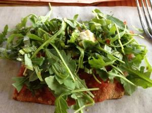 fresh chopped organic tomatoes, basil, arugula, garlic, cubes of fresh mozzarella, organic tomato sauce, mozzarella