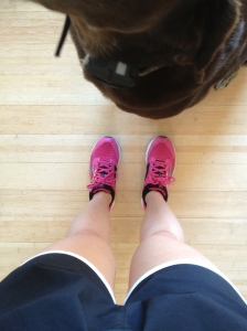 Pasty white legs and photo-bombing dog