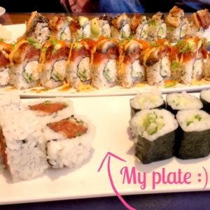The 2 more exciting plate in the back were my mom and sister's