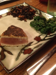 seared ahi, rice, spinach