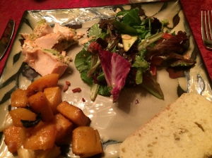 My delicious plate of salmon, salad, roasted butternut squash, and bread