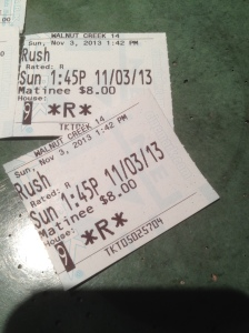 rush movie stubs