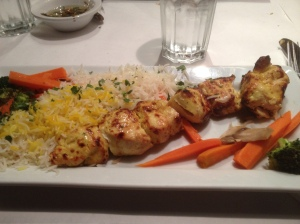 I got the chicken kabobs. So yummy.