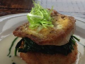 We both go the pan seared Dorado served on top of a crispy risotto cake.
