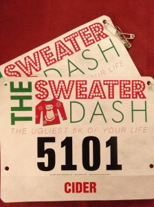 ugly sweater dash 5K bib