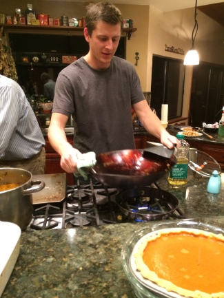 kyle cooking dinner