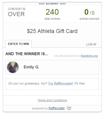 rafflecopter giveaway winner